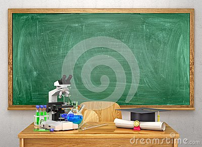 Chemical equipment on the school table next to the diploma and academic hat on the background of the school board.