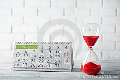 Hourglass with calender