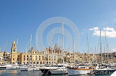 stock image of malta, three cities, marine at l-isla, valletta