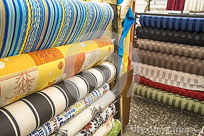 Stacks of colorful textiles