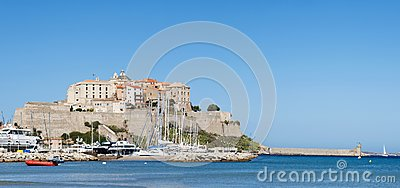 Calvi, Citadel, beach, ancient walls, marina, sailboats, skyline, Corsica, Corse, France, Europe, island