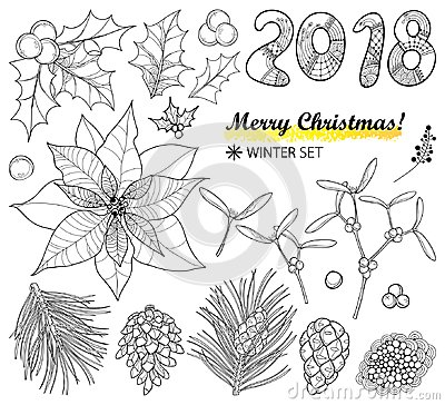 Vector set with outline Poinsettia flower, holly berry, mistletoe, pine, cone and 2018 in black isolated on white background.
