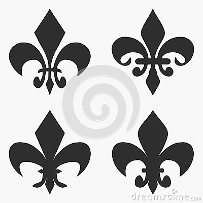 Set Of Fleur De Lis Symbol French Heraldic Lily Vector