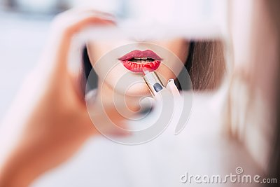 Red lipstick makeup sensual provocative woman