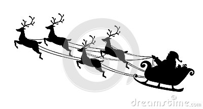Santa Claus flying with reindeer sleigh. Black Silhouette. Symbol of Christmas and New Year isolated on white background. Vector