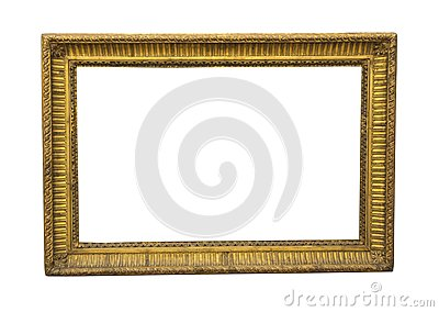 Old square wooden picture frame in gold colour
