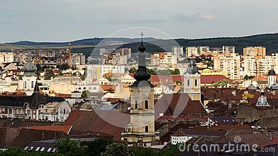 Cluj Napoca city as seen from Cetatuia Hill near by