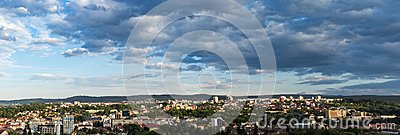 Panoramic view of Cluj Napoca city as seen from Cetatuia Hill near by
