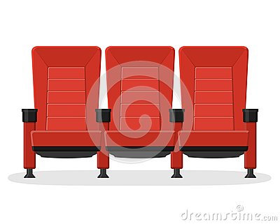 Cinema red comfortable seat for watching movies isolated on white background. Red comfortable armchairs movie and film