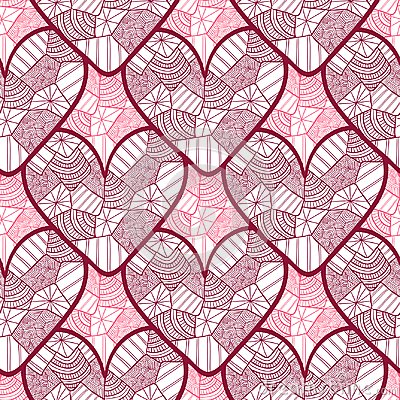 Lace seamless pattern with ornamental hearts. Texture for valentines day wrapping paper, wedding invitation background, textile fa