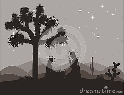 Unusual nativity scene with Joshua tree. Saint family and mountains silhouettes. Vector illustration, Mary, Jesus, and