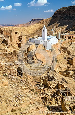 Mosque at Chenini, a a fortified Berber village in Southern Tunisia