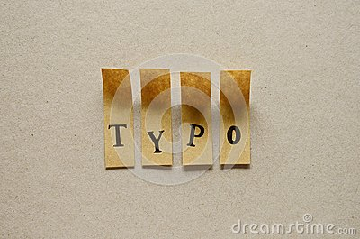 Typo - word in sticky letters