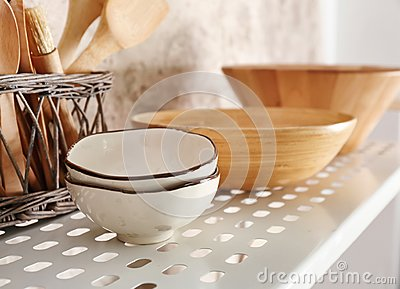 Kitchenware on shelf