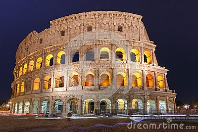 Colosseum or Coliseum at night, Rome, Italy.