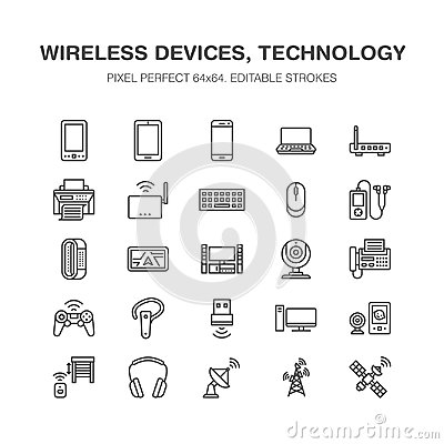Wireless devices flat line icons. Wifi internet connection technology signs. Router, computer, smartphone, tablet