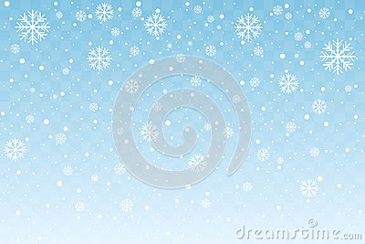 Falling snow with stylized snowflakes isolated on blue transparent background. Christmas and New Year decoration. Vector
