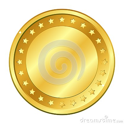 Gold coin with stars. Vector illustration isolated on white background. Editable elements and glare.