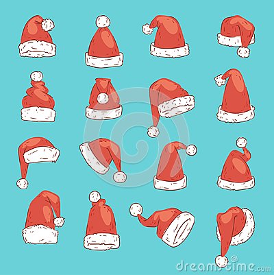 Christmas Santa Claus red hat vector noel illustration New Year Christians Xmas party design decoration hats
