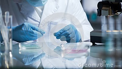 Lab technician preparing glass with biochemical substance for examination
