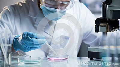 Researcher conducting scientific studies to confirm the quality of cosmetics