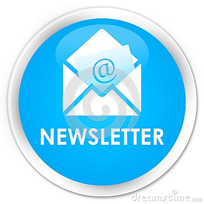 Newsletter premium cyan blue round button