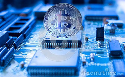 Crypto currency bitcoin on printed circuit board