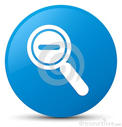 Zoom out icon cyan blue round button