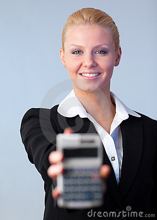 Business woman holding up a calculator