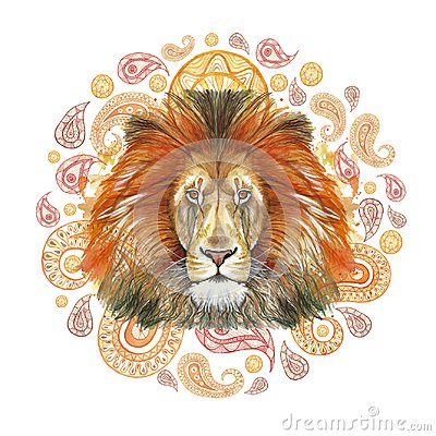 Watercolor drawing of an animal mammal predator, red lion, red mane, lion-king of beasts, portrait of greatness, strength, kingdom