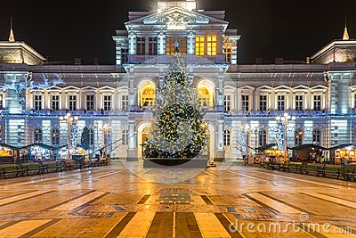 ARAD, ROMANIA – DECEMBER 17, 2015: Christmas Tree in Arad