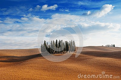 Tuscany, Italy - scenic view of tuscan landscape with rolling hills, small cypress trees forest and blue sky with clouds