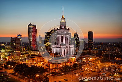 stock image of aerial photo of the palace of culture and science in warsaw p