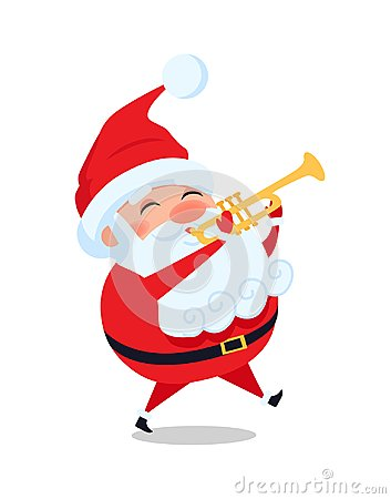 Santa Playing on Trumpet, Cute Christmas Father