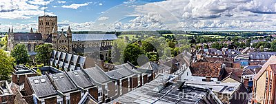 The roof tops of St Albans, UK in summertime