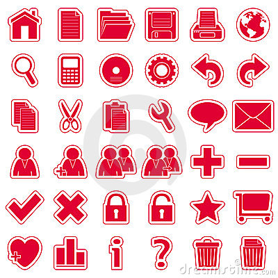 Red Web Stickers Icons [1]