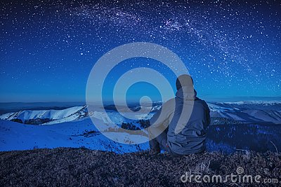 A climber sitting on a ground at night