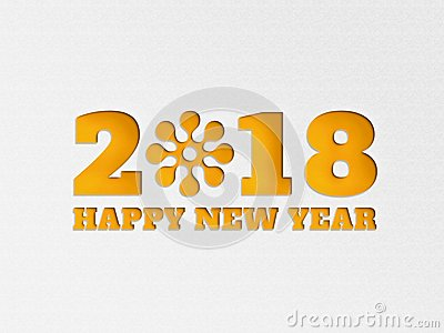 Happy New Year 2018 wallpaper banner background flower with paper cut out effect in yellow color.