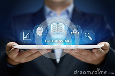 stock image of e-learning education internet technology webinar online courses concept