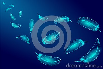 Realistic glowing blue feathers line neon swan bird.Falling wind flying light abstract composition vector illustration