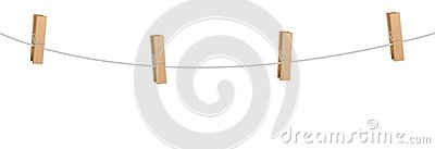 Clothes Pins Four Wooden Pegs Clothes Line Rope