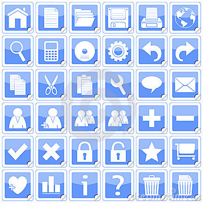 Blue Square Stickers Icons [1]