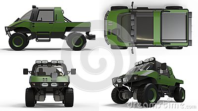 Set special all-terrain vehicle for difficult terrain and difficult road and weather conditions. 3d rendering.