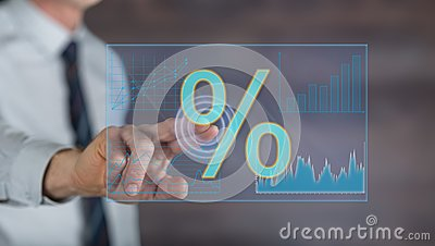 Man touching digital interest rates data on a touch screen