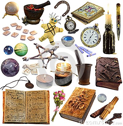 Big set with magic and occult objects isolated on white