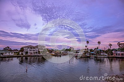 Purple sunset at Hudson beach, florida