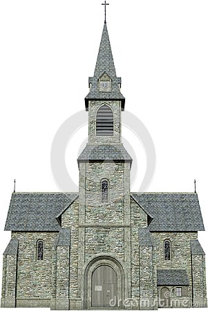 Old Stone Christian Church Isolated