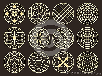 Korean And Chinese Traditional Vector Ancient Buddhist Patterns