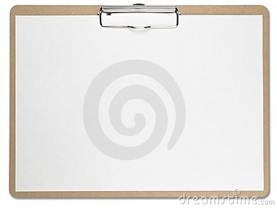 Horizontal clipboard with blank white paper.