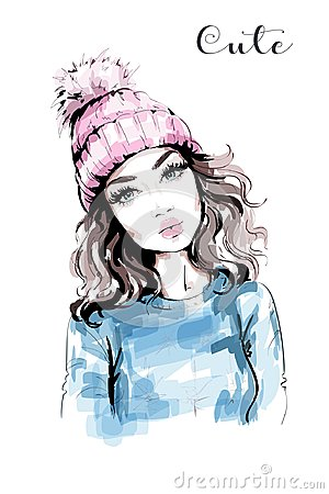 Hand drawn beautiful woman portrait. Fashion woman in knitted hat with pompom. Stylish look. Fashion girl.